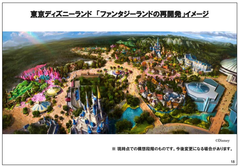 東京ディズニーランド ファンタジーランドの再開発 イメージ(2015年3月期 第2四半期決算説明会資料より引用)