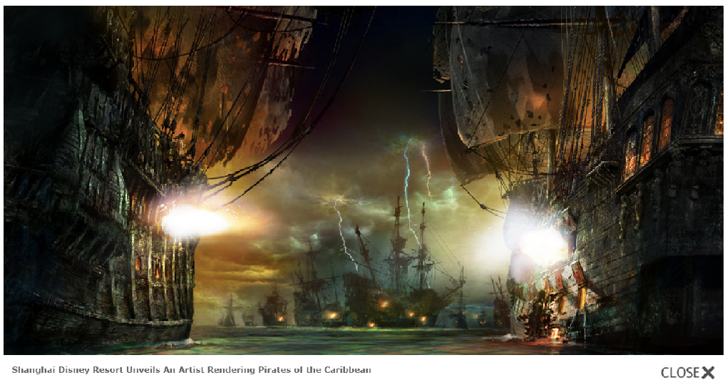 Shanghai Disney Resort Unveils An Artist Rendering Pirates of the Caribbean (c)Disney