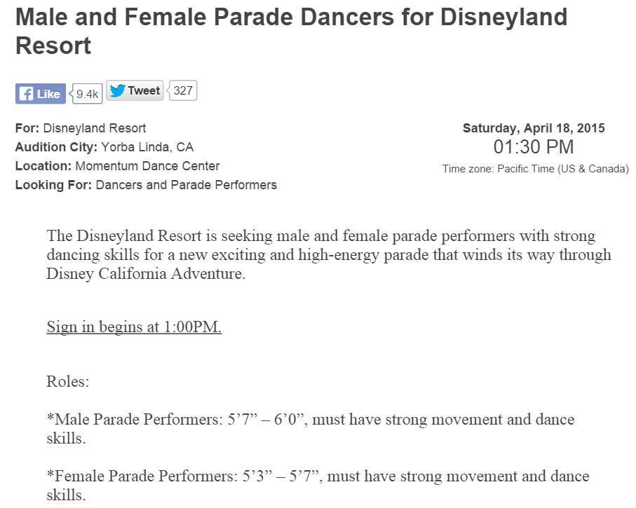 Male and Female Parade Dancers for Disneyland Resort