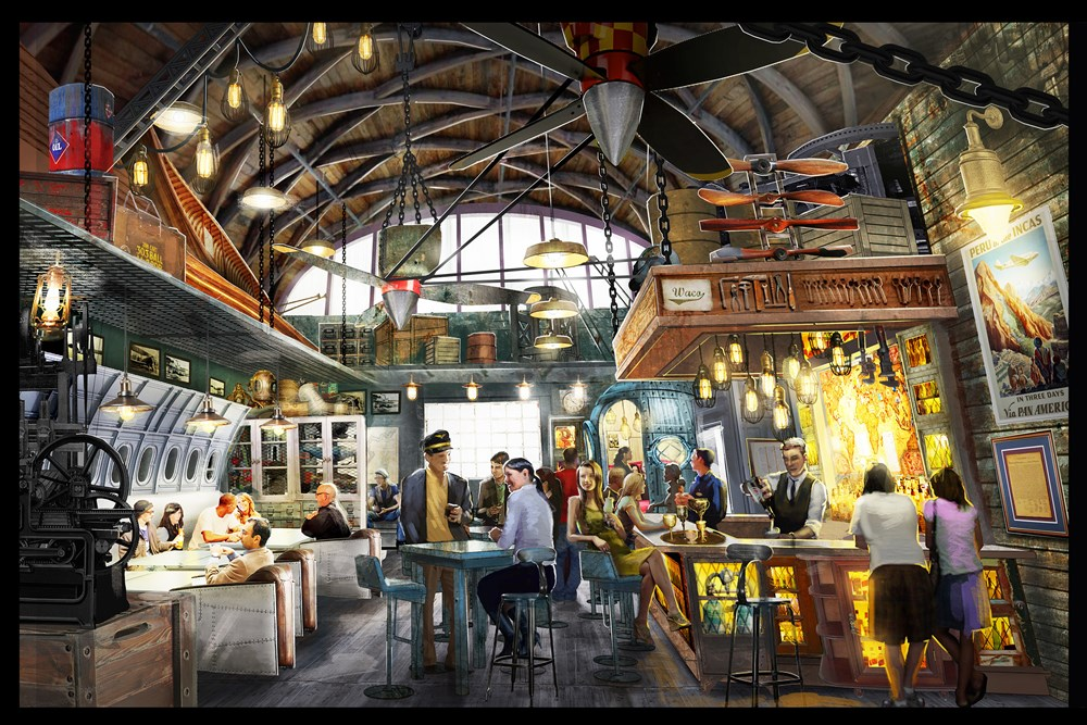"A new aviation-themed lounge, Jock Lindsey's Hangar Bar, will feature unique cocktails and small plates at its prime location along Lake Buena Vista. Ardent fans of the ""Indiana Jones"" films may recognize Jock Lindsey as Indy's frequent pilot. In the main room, guests will discover an expansive bar, aviation decor filling the room, vintage travel posters covering the walls and correspondence between Jock, Indy and their fellow adventurers on display. Jock Lindsey's Hangar Bar is set to open to guests fall 2015 at The Landing area at Downtown Disney in Lake Buena Vista, Fla. (Concept art, Disney)"