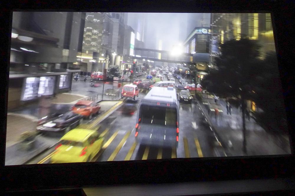 ライド映像の一部。香港の街がかなりリアルに再現されている