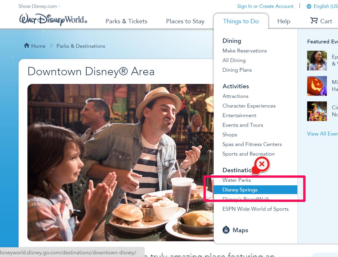 メニューには「Disney Springs」が登場
