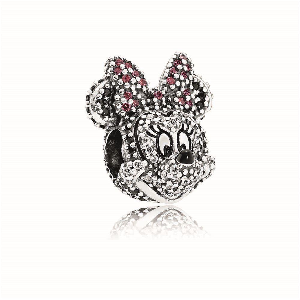 (限定品)ミニーチャーム<Sparkling Minnie Portrait silver charm with cubic zirconia and red enamel > 1万4000円 (c)Disney