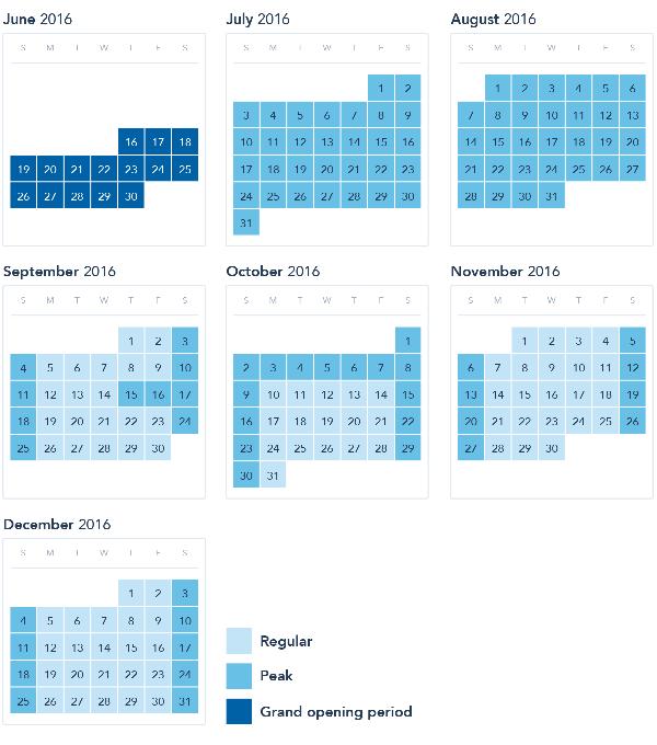 上海ディズニーランド価格設定カレンダー(プレスリリースより)