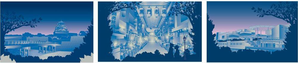 左から大阪城、黒門市場、あべのキューズモール (c)Disney