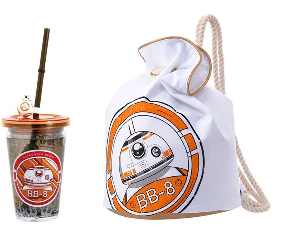 BB-8ストロータンブラー 800円/ナップサック 3500円 © & TM Lucasfilm Ltd.