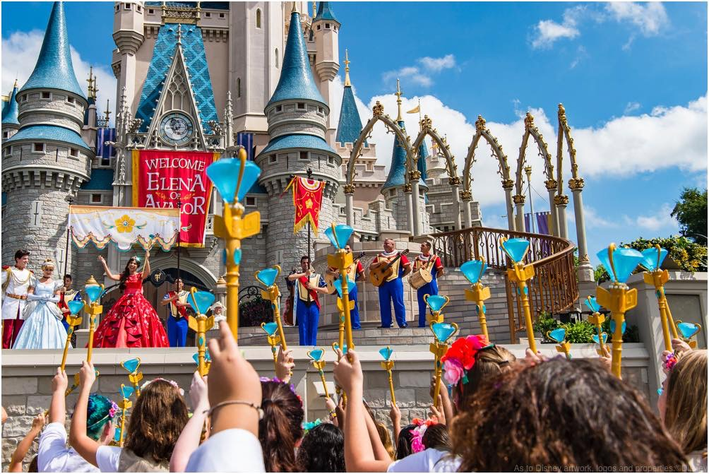 "Princess Elena of Avalor, the first Latin-inspired Disney princess, receives a royal welcome on Aug. 11, 2016 during her arrival at Magic Kingdom Park in Lake Buena Vista, Fla. Princess Elena's arrival at Walt Disney World follows the debut of the new Disney Channel animated series, ""Elena of Avalor."" The adventurous princess appears daily in ""The Royal Welcome of Princess Elena"" stage show at Magic Kingdom. (Matt Stroshane, photographer)"