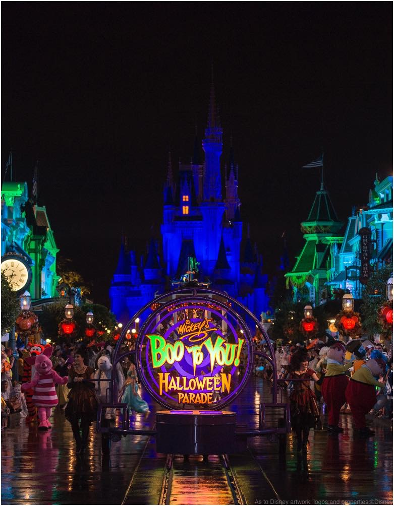 A spectacle of characters parades down Main Street, U.S.A in Mickey's Boo-to You Halloween Parade  As to Disney artwork, logos and properties:©Disney