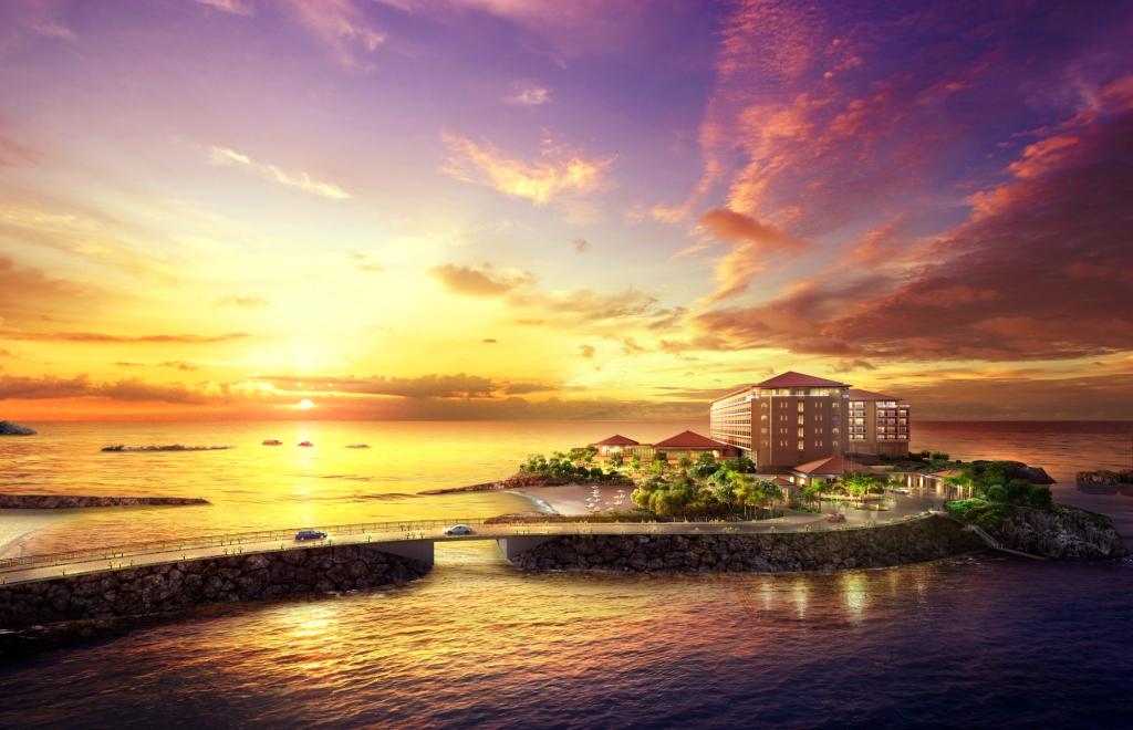 沖縄本島側から見たサンセットイメージ