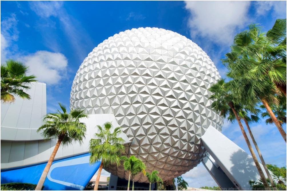 Spaceship Earth is the visual and thematic centerpiece of Epcot at Walt Disney World Resort in Lake Buena Vista, Fla. The geodesic dome weighs 16 million pounds and the outer